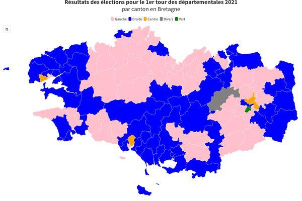 Avant - Après : élections Départementales 2015 et 1er tour 2021