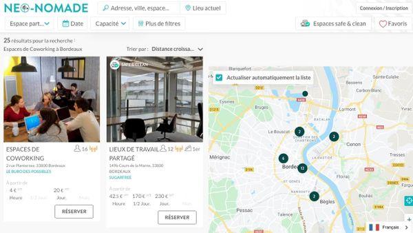 Recensement des espaces de coworking à Bordeaux par la plateforme Néo-Nomade