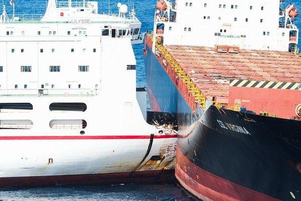 Collision en mer au nord du cap Corse, la difficile désincarcération du navire roulier tunisien