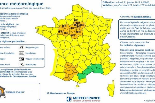 Carte de vigilance météorologique de ce lundi 21 janvier à 6h