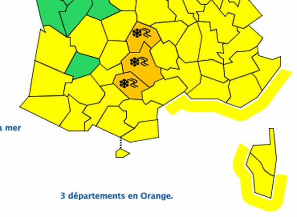 3 départements restent en vigilance orange neige-verglas jusqu'à 12h00 : l'Aveyron, le Tarn et le Cantal - 4 mars 2017