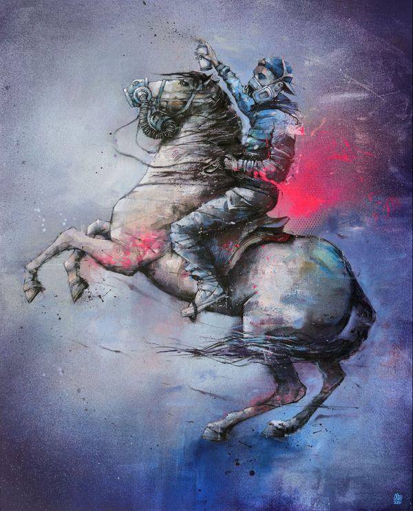 """L'oeuvre """"Aux armes"""" de Graffmatt s'est rapidement vendue sur la plateforme de l'association SAATO."""