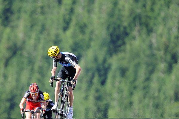 Chris Froome en 2012, arrivant le premier au sommet à la Planche des Belles Filles