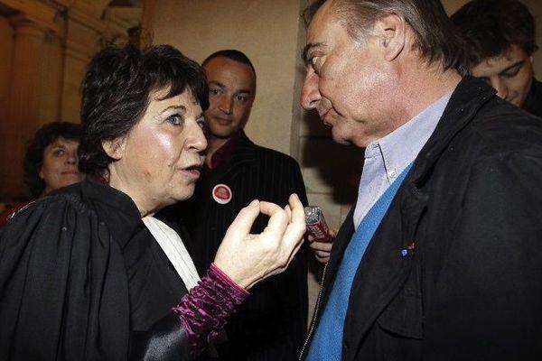 Corinne Lepage et Allain Bougrain-Dubourg lors d'une audience sur le dossier Erika en 1999