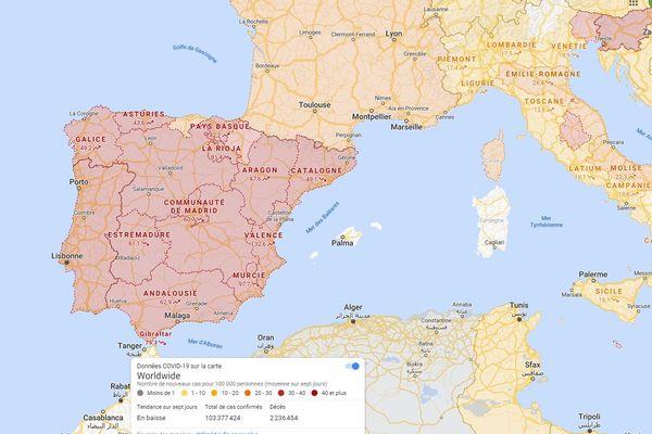Il est possible de suivre l'évolution de la crise sanitaire à l'étranger grâce à ce service de Google Maps.