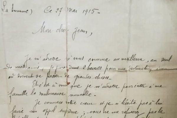 Cette lettre écrite en mai 1915 s'adresse au meilleur ami du poilu et lui demande un service terrible.