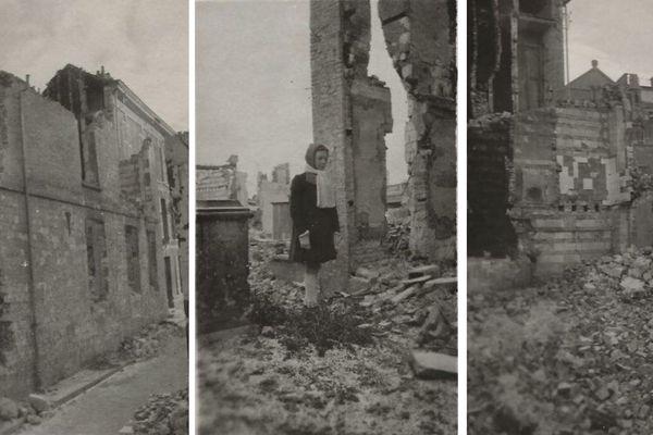 À gauche, le dernier mur encore debout de la maison familiale de mes grands-parents, située sur l'ancienne place Saint-Rémi. Au milieu, ma mère alors âgée de 12 ans, au milieu des ruines, de retour d'exode en novembre 1940.  À droite, la placette Saint-Rémi, qui communiquait au nord sur le parvis de la cathédrale, à l'ouest rue des Sergents et au sud avec la rue des Crignons. Au fond de la photo apparaît l'ancien couvent des Louvencourt, aujourd'hui lycée privé Saint-Rémi.