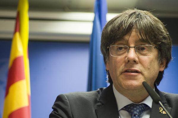 Conférence de presse de Carles Puigdemont à Bruxelles le 19 décembre 2019.