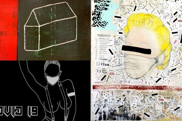 Œuvres signées Ludovic Pessin, Nina Van Kidow, Sébastien Dominici