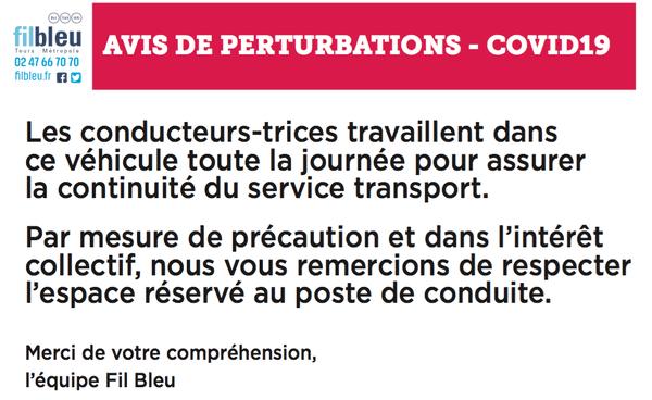 Communiqué du réseau de transports de l'agglomération tourangelle, dans le cadre de la crise sanitaire du Covid-19.