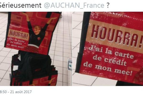 Le sac commercialisé par Auchan, porteur d'un message hautement sexiste.