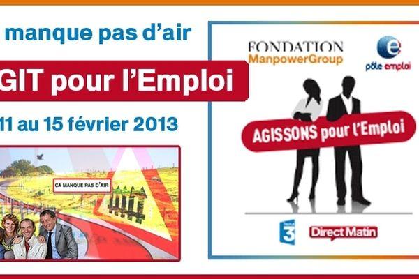"""France 3 est partenaire de l'opération """"Agissons pour l'emploi"""" menée avec La Fondation ManpowerGroup et Pôle Emploi."""