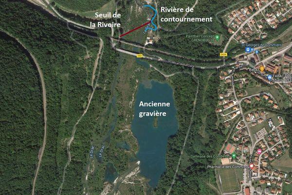 """Schéma du projet de """"passe à poissons"""" sur le site de la Rivoire, en Isère, d'après un communiqué de Grenoble Alpes."""