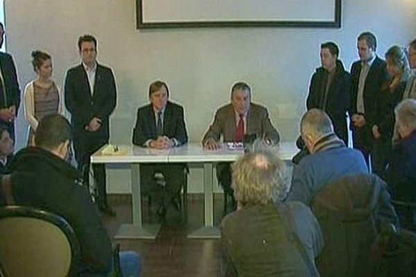 Montpellier - présentation de la liste UMP-UDI pour la mairie avec Yavan Lachaud et Jean-Paul Fournier- 13 décembre 2013.