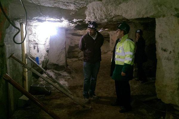 Le chantier de consolidation d'une des carrières souterraines de Courgeon est en cours
