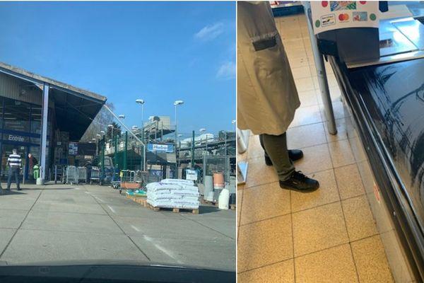 En Belgique aussi, la file d'attente aux magasins est strictement encadrée, et les caissières nettoient régulièrement leur caisse.