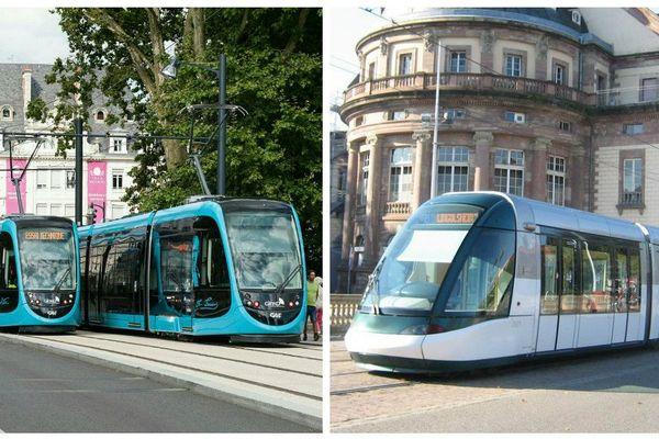 A gauche, Urbos de chez CAF, à Besançon ... A droite, Citadis de chez Alstom, à Strasbourg.