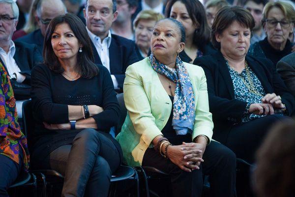"""Anne Hidalgo, Christiane Taubira et Martine Aubry au """"Carrefour des Gauches"""" à Bondy en novembre 2016"""