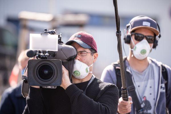 Une équipe de tournage.