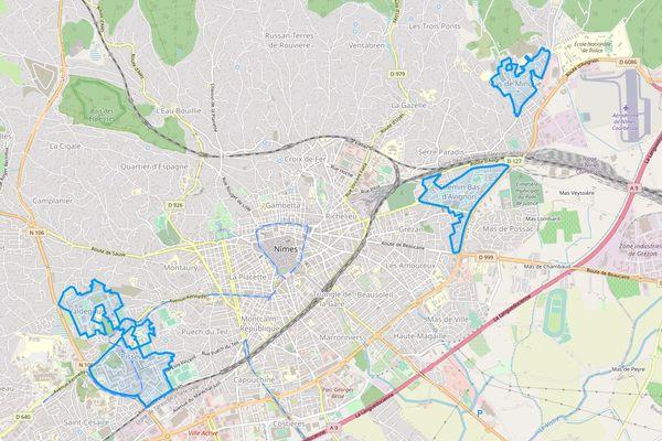 Nîmes : les quartiers bénéficiant du NPNRU via l'ANRU.