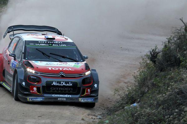 La Citroën C3 WRC conduite par Sébastien Loeb, lors de la 2e journée du Rallye de Mexico, vendredi 9 mars 2018.