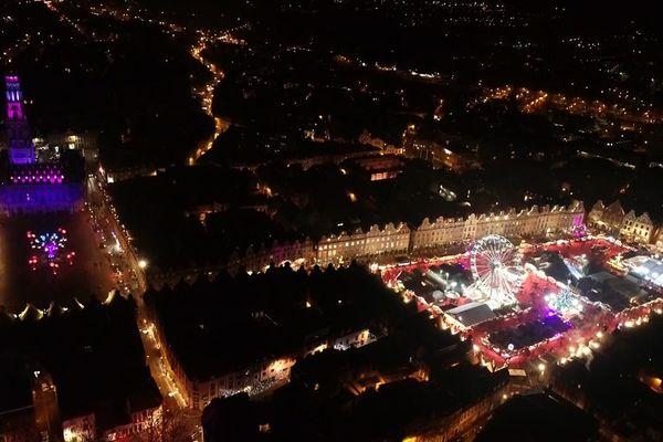 Le marché de Noël d'Arras vu du ciel