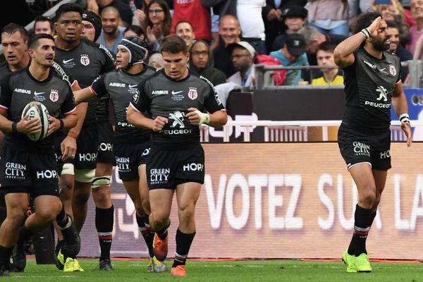 Yoann Huget a inscrit le premier essai de la finale du Top 14 qui oppose le Stade Toulousain à l'ASM Clermont Auvergne, le 15 juin 2019 au Stade de France.