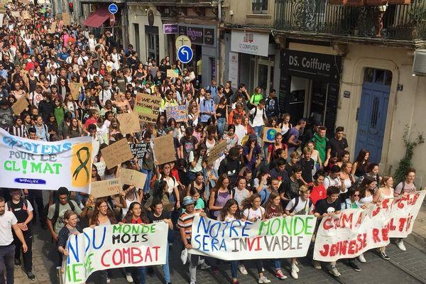 Manifestation de près de 500 lycéens pour le climat Montpellier 20 septembre 2019