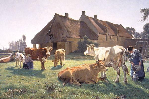 """L'oeuvre du peintre norvégien Christian Skredsvig """"Une ferme à Venoix"""" témoigne de la tradition des peintres voyageurs caractéristique de la fin du XIXe siècle."""