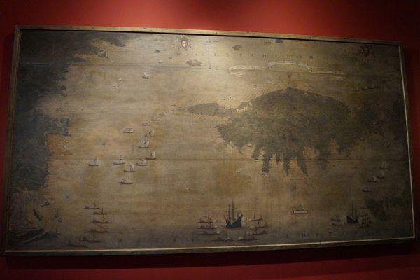 """""""Corsica et la rivière occidentale de Gênes en 1598"""", Girolamo Bordone, XVIe-XVIIe siècle. Cette carte est l'une des plus anciennes représentations géographiques connues de la Corse"""