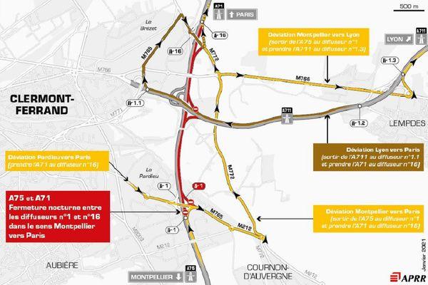 La circulation sera déviée près de Clermont-Ferrand le 1er février sur l'autoroute A75.