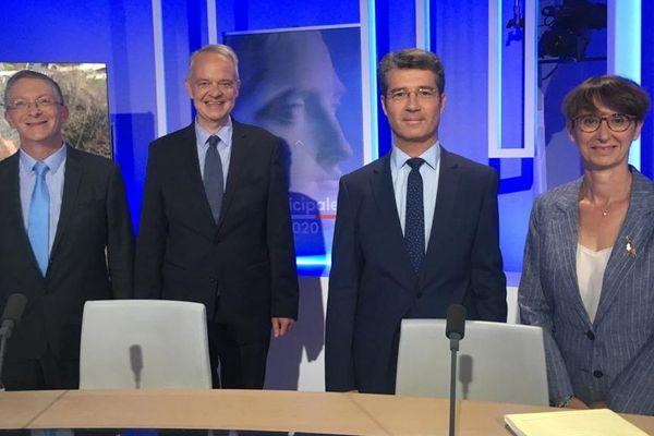 Les candidats pour l'élection municipale à Montluçon sur le plateau de France 3 Auvergne : Frédéric Kott, Joseph Roudillon, Frédéric Laporte et Sylvie Sartirano.