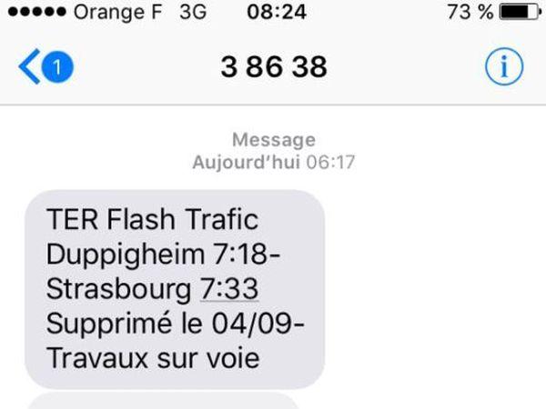 Texto type reçu par les abonnés de la SNCF