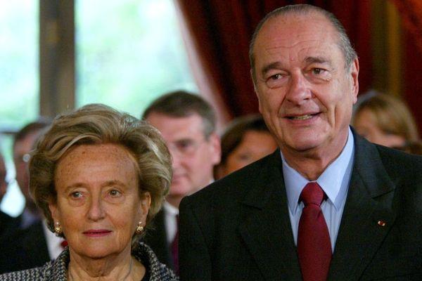 18 avril 2005, palais de l'Élysée : Jacques Chirac, président de la République française, et son épouse Bernadette Chirac.