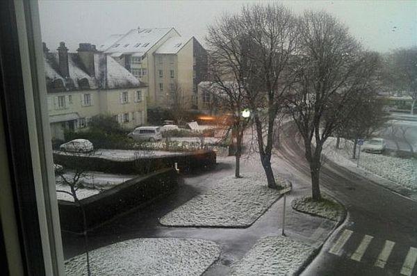 Neige à Cherbourg, 11 mars 2013, 8 heures
