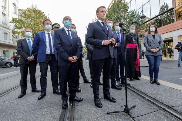 Emmanuel Macron lors de son intervention à Nice sur Jean Médecin ce jeudi.