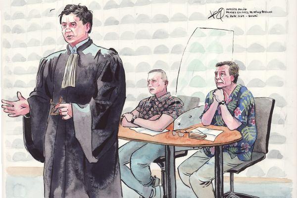 Les parties civiles lors du 4e jour du procès en appel de Willy Bardon devant la cour d'assises de Douai : Fabien et Jacky Kulik ainsi que leur avocat Me Didier Seban