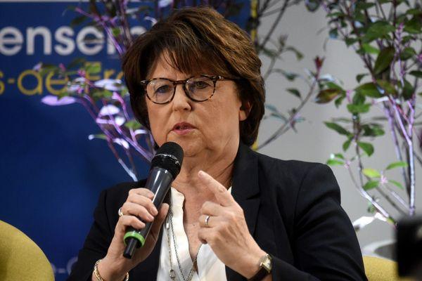 Martine Aubry lors d'un débat à Lille avant le premier tour des élections municipales, le 25 février 2020.