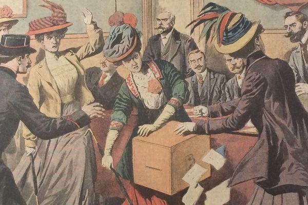 A la une du Petit Journal de l'époque, Hubertine Auclert entourée de militantes féministes vident l'urne d'un bureau de vote à Paris.