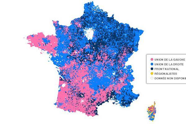 Carte de France des résultats des Régionales 2015, commune par commune