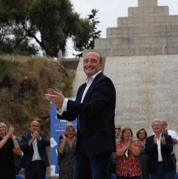 Laurent Marcangeli, chef de file de la droite insulaire, en meeting à Ajaccio le 17 juin 2021