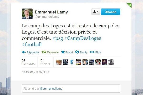Le maire de Saint-Germain en Laye, Emmanuel Lamy, a vivement réagit sur Twitter, suite à la décision du PSG de rebaptiser le Camp des Loges du nom d'un de ses sponsors.