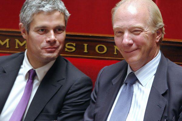 Les sarkozystes Laurent Wauquiez et Brice Hortefeux, hier ministres, aujourd'hui respectivement président et vice-président de la région Auvergne-Rhône-Alpes.