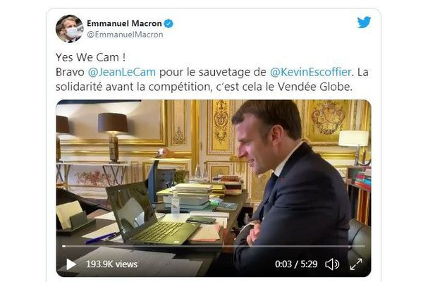 Emmanuel Macron s'est entretenu par téléphone avec Kevin Escoffier et Jean Le Cam