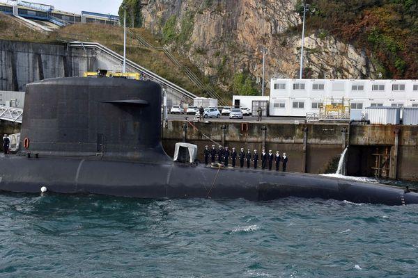 le 11/10/2018 à Morlaix (29) : Cérémonie de la 500e patrouille d'un SNLE a l'Ile Longue , le sous-marin Le Terrible