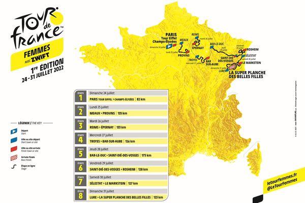 Carte du Tour de France féminin 2022