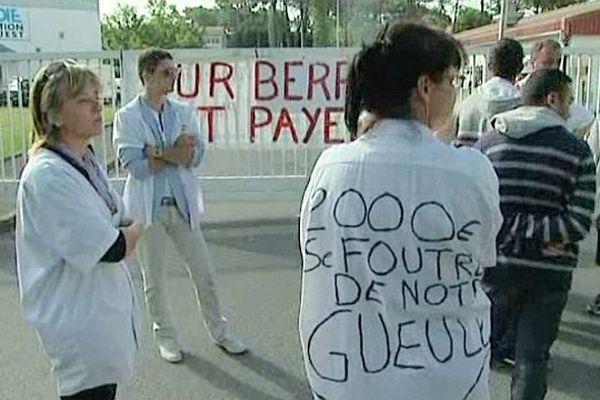 """Anglet (Pyrénées-Atlantiques) - manifestation des """"Spanghero"""" devant l'usine Arcadie de Lur Berri - 17 juin 2013."""
