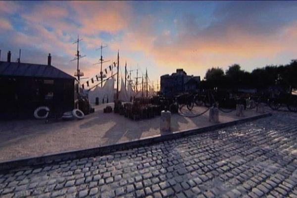 Un aperçu des scènes (animées) reconstituant la vie au Havre avant les destructions de 1944