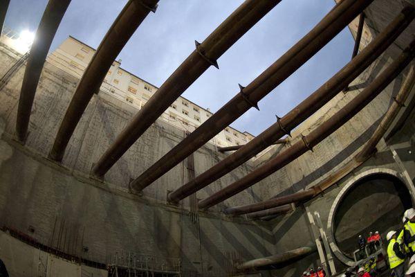 Le tunnelier Elaine qui creuse la nouvelle station de métro à Rennes