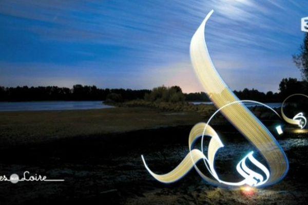 Calligraphie lumineuse à Nantes de l'artiste Julien Breton